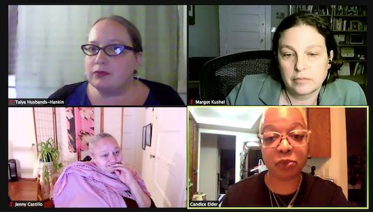 Forum panel - Talya Husbands-Hankin, Margot Kushel, Janny Castillo and Candice Elder