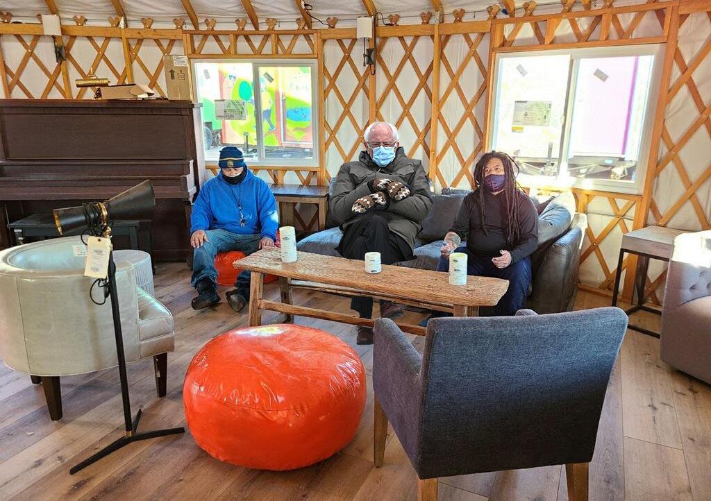 Bernie Sanders joins YSA volunteers in the newly furnished kitchen yurt!