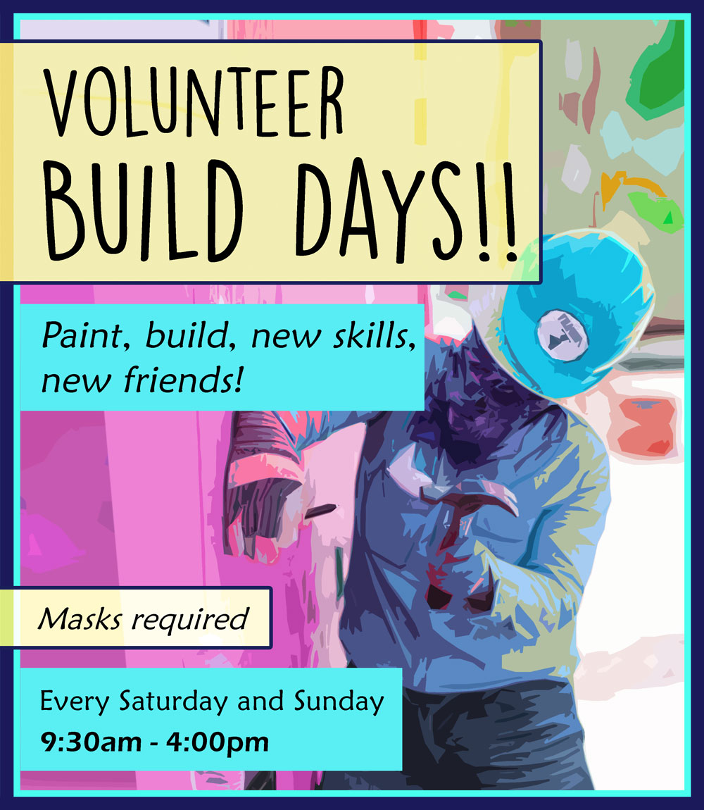 YSA Tiny House Build Days - volunteer with hammer sets another nail.